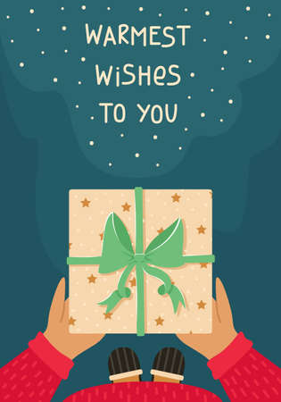 A man in pajamas and slippers holds a Christmas gift in his hands. New year greeting card. Illustration