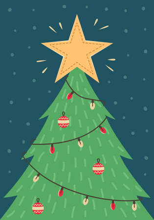 Christmas card with a Christmas tree with toys and a garland. New year greeting card. Illustration