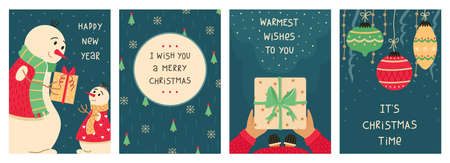 Cute Cristmas set of 4 New year greeting cards.