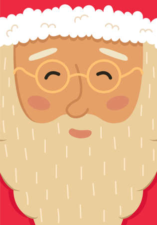 Christmas card with cute Santa Claus head. New year greeting card.