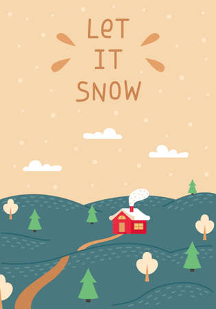 A Christmas card with a winter landscape and a small red house. Space for text. New year greeting card.