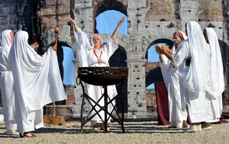 founding: ROME ITALY APRIL 21: Actresses dressed as ancient Roman vestals celebrate the 2768th anniversary of Rome founding on April 21 2015 Editorial