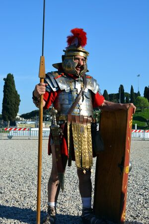 founding: ROME ITALY APRIL 21: An actor dressed as ancient Roman soldier during the annual celebrations on the 2768th anniversary of Rome founding on April 21 2015 Editorial
