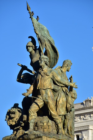Details of Altair of the Fatherland, Rome Italy - Soldiers fight in front of Altair of the Fatherland