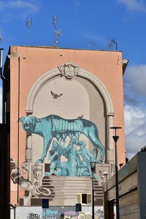 Street Art and Graffiti in Rome Pigneto district Italy