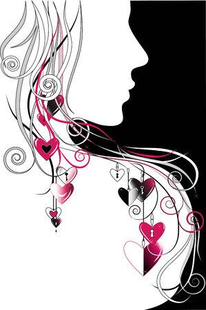 afrodita: Fondo ornamental con silueta de woman?s, corazones y rizos