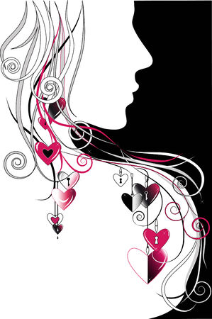 Ornamental background with woman's silhouette, hearts and curls