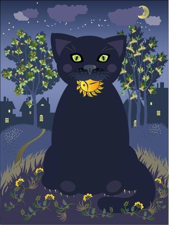sunfish: The cat symbol of night. illustration.