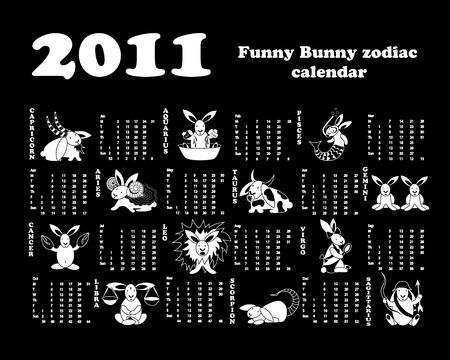 Funny bunny zodiac calendar 2011. Stock Vector - 7225036