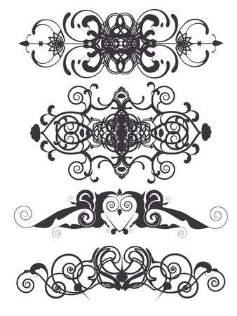 Set of 4 decorative vintage headers. Stock Vector - 7225016