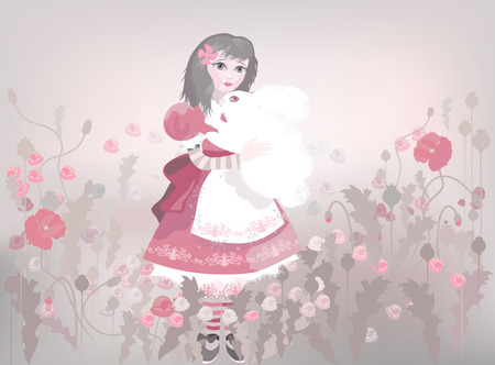 Little girl with white fluffy bunny , decorative background with red poppy patterns. Vector