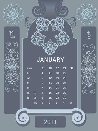 Retro windows calendar, January Stock Vector - 7460716