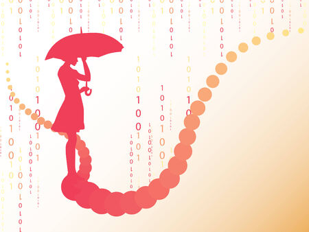 Abstract background with woman's silhouette under digital rain.  Vector