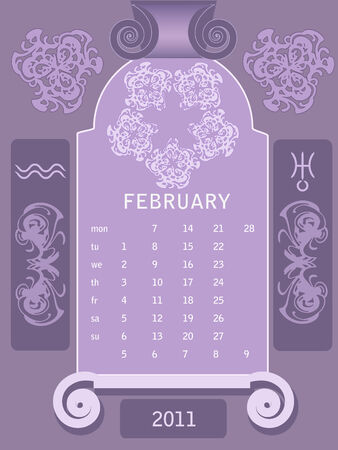 looseleaf: Decorative vintage calendar 2011, with stylized window and astrological symbols.  Illustration