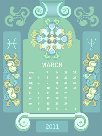 looseleaf: Decorative vintage calendar 2011, with stylized window and astrological symbols.