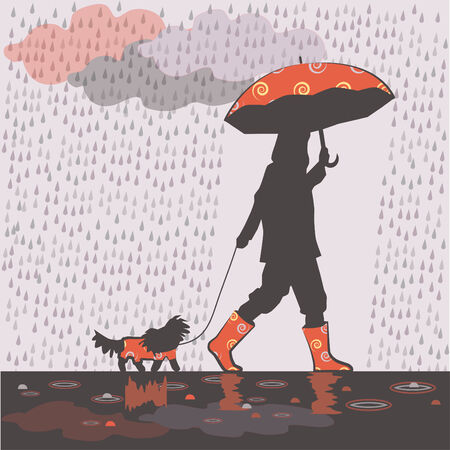 Girl is taking small dog for a walk under the rain.
