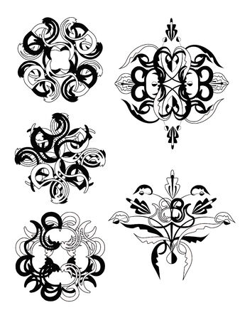 Set of decorative vintage elements. Vector