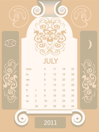 Decorative vintage calendar 2011, with stylized window and astrological symbols. Stock Vector - 7306453