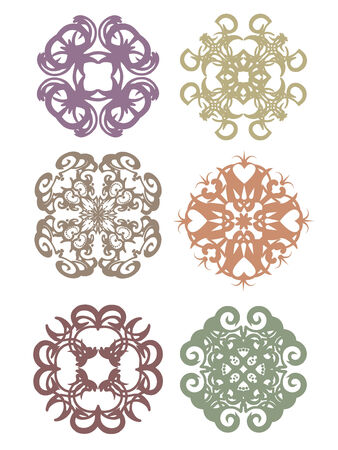 Vintage decorative  colorful swatches set Vector