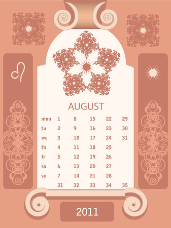 looseleaf: Decorative vintage calendar 2011, with stylized window and astrological symbols