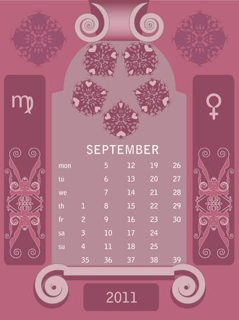 Decorative vintage calendar 2011, with stylized window and astrological symbols. Stock Vector - 7363128