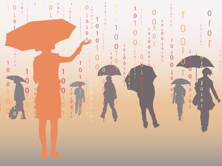 People under digital rain, vector illustration.  Vector