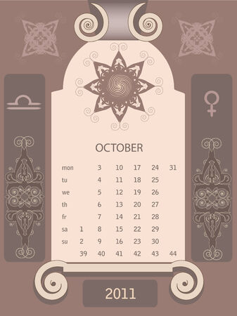 looseleaf: Decorative retro  vintage calendar 2011 October