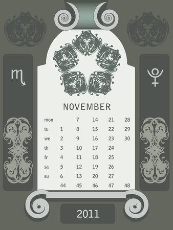 Retro windows calendar November Stock Vector - 7404669
