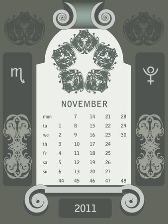 looseleaf: Retro windows calendar November Illustration