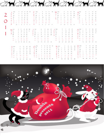 Double-sided calendar  2011,  illustration.  Stock Vector - 7443880