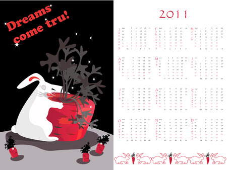 Double-sided calendar  2011,   illustration.  Stock Vector - 7443882