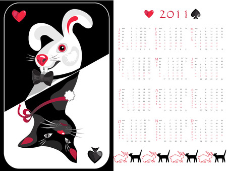 Double-sided calendar cat/rabbit 2011,  illustration.  Stock Vector - 7443881