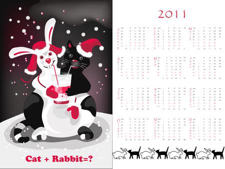 Double-sided calendar 2011 Stock Vector - 7460721