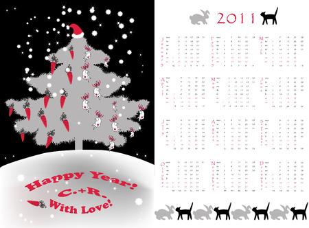 Double-sided calendar 2011 Vector