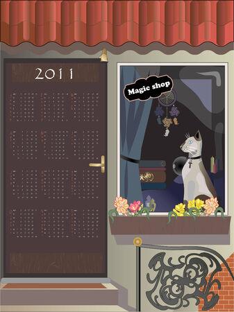 Calendar 2011, year of cat,   illustration. Vector