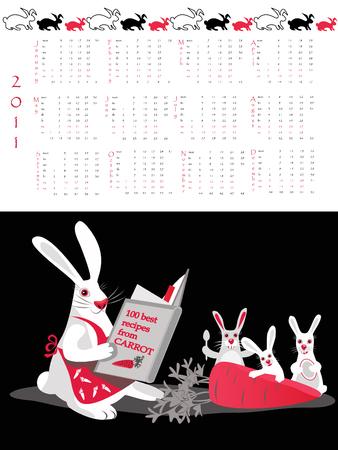 Double-sided calendar  2011 illustration.  Vector