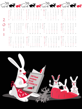 Double-sided calendar  2011 illustration. Stock Vector - 7516663