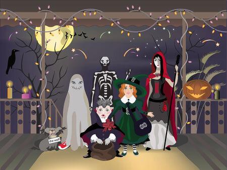 Halloween eve celebration, children in costumes, vector illustration.