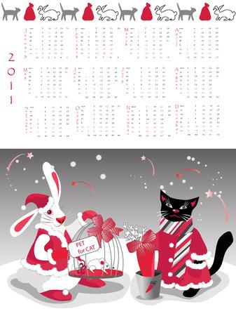 Calendar 2011, year of cat or rabbit Stock Vector - 7596373