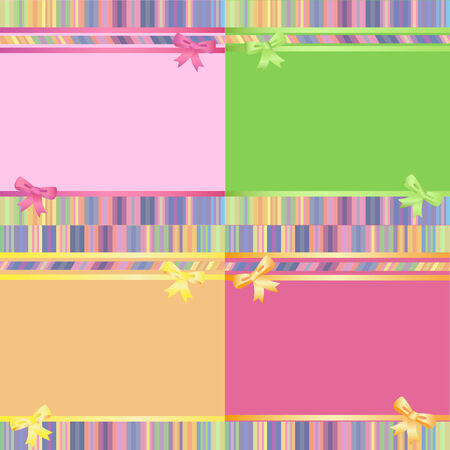 Set of  rainbow decorative striped background with ribbon and bow.  Vector