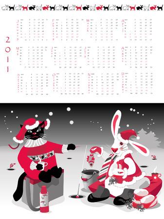 Calendar  2011, year of cat or rabbit, illustration.  Vector