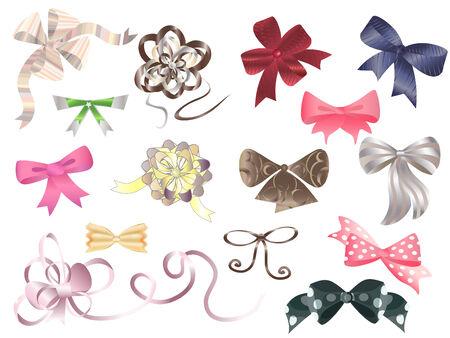 Set of decorative bows. Illustration