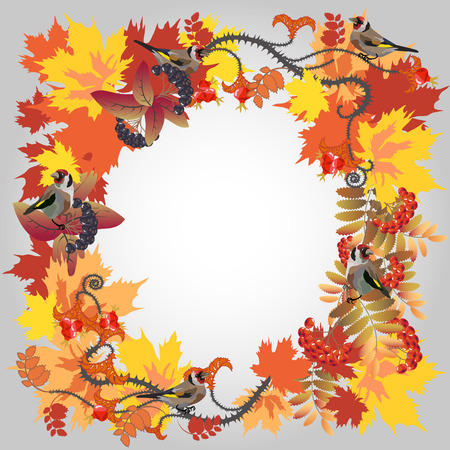 Decorative autumn frame with leafs and birds. Vector