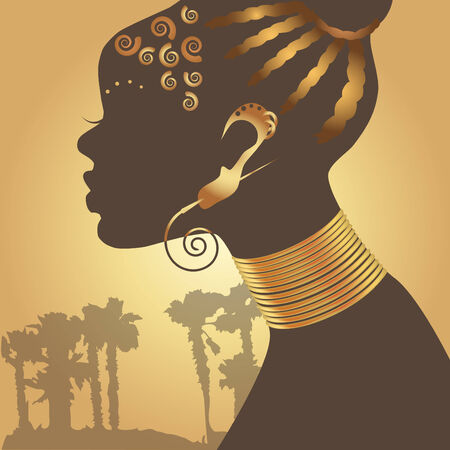 Stylized black woman silhouette on golden background.