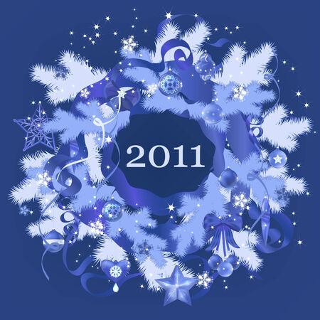Decorative Christmas, New Year blue wreath. Vector