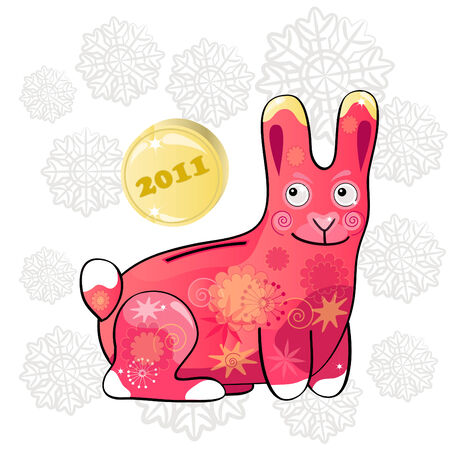 Funny Christmas postcard with rabbit - money box symbol of 2011.  Vector