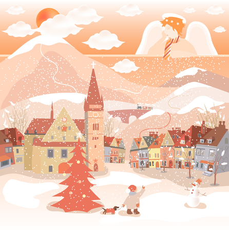 Decorative Christmas, New Year postcard, with snow, angel and city.