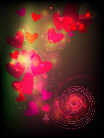 gamut: Decorative Valentine postcard, with shining hearts patterns.