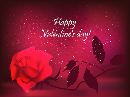 gamut: Romantic valentine background, with red rose.  Illustration