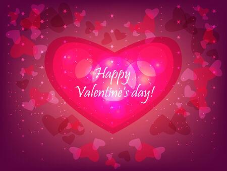 gamut: Festive valentine pink background, with shining heart patterns.  Illustration